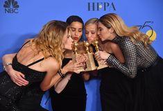 The strong & affectionate cast of talented women win big for Big Little Lies: Laura Dern, Nicole Kidman, Zoe Kravitz, Reese Witherspoon & Shailene Woodley Zoe Kravitz, Alexander Skarsgard, Shailene Woodley, Meryl Streep, Golden Globe Award, Golden Globes, Reese Witherspoon, Nicole Kidman, Big Little Lies Cast