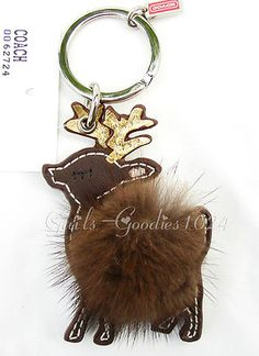 Coach Leather and Mink Reindeer Key Chain Fob New 62724 | eBay