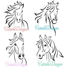 Horse Lined Art Svg Cuttable Designs