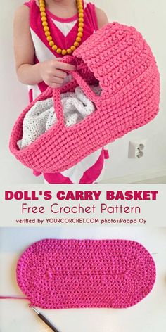 Doll's Carry Basket Free Crochet Pattern Every little girl would be delighted to have this accessory. Kids love to bring their favorite toys wherever they go, so the Doll's Carry Basket will be the most super extra cool gift. During the evening, it can be Baby Doll Bed, Baby Doll Clothes, Crochet Doll Clothes, Doll Beds, Diy Dolls Bed, Barbie Clothes, Crochet Dolls Free Patterns, Crochet Basket Pattern, Doll Patterns