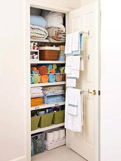 store more than linens in your linen closet