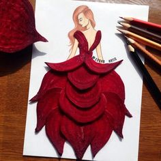 Sliced beets.  Dresses by Edgar Artis