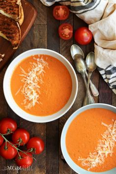 This Easy Roasted Tomato Soup is MUCH better than the can and couldn't be simpler -- perfect for fresh garden tomatoes and herbs! Healthy & gluten-free