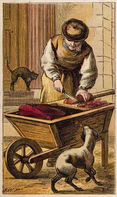 The cat's meat man chops up meat on his barrow watched by a hopeful cat and dog. Date 1870.
