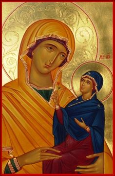 Saint Ann and the Theotokos Byzantine Icons, Byzantine Art, Religious Icons, Religious Art, Mama Mary, Santa Ana, St Anne, Madonna And Child, Art Icon