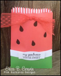 Pink Buckaroo Designs: Stampin' Up New In Color Watermelon Wonder Treat Bag Thinlit project for Stamp Club June http://pinkbuckaroodesigns.blogspot.com/2015/06/stamp-club-june.html