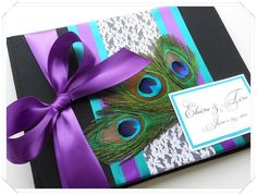 Romantic Peacock Wedding Guest Book You Choose Cover Colors. $44.00, via Etsy.