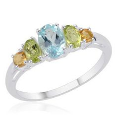 Topaz Peridot Citrine Ring. Sterling Silver.  #jewelry  #gifts  #rings