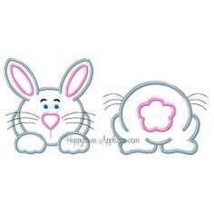 Bunny Front and Tail Applique Design