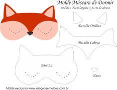 Molde Máscara de Dormir Raposa - Molde para Feltro - EVA e Artesanato, Molde Máscara de Dormir Raposa - Molde para EVA - Feltro e Artesanato