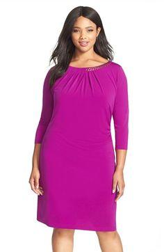 Tahari Chain Detail Side Drape Jersey Sheath Dress (Plus Size) Sale