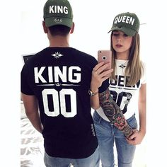 King queen shirts, king queen couple shirts, couple shirts, couples shirts, matching shirts for couples, custom number king and queen shirts
