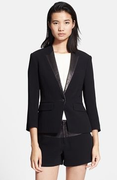 Free shipping and returns on rag & bone 'Smith' Leather Trim Tuxedo Jacket at Nordstrom.com. Slick leather distinguishes mock lapels on a boyish three-quarter-sleeve jacket tailored for a clean feminine fit.