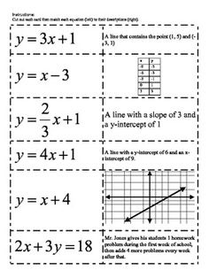 Linear Equation Matching Cut-out Activity (linear functions) Math: Linear Equation Matching Cut-out Activity (linear functions) - Derek Follett - Math: Linear Equation Matching Cut-out Activity (linear functions) - Derek Follett - Algebra Activities, Maths Algebra, Math Resources, Algebra Equations, Math 8, Free Math, Math Teacher, School Classroom, Teaching Math