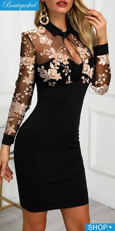 Mesh Floral Embroidery Bodycon Dress - - Mesh Floral Embroidery Bodycon Dress Source by pedosk Elegant Dresses For Women, Dressy Dresses, Sexy Dresses, Cute Dresses, Beautiful Dresses, Dress Outfits, Evening Dresses, Short Dresses, Fashion Dresses