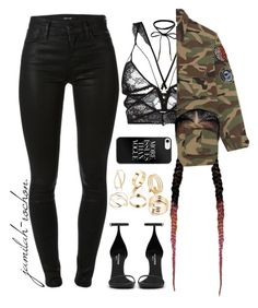 """02.02.17"" by jamilah-rochon ❤ liked on Polyvore featuring For Love & Lemons, Yves Saint Laurent and J Brand"
