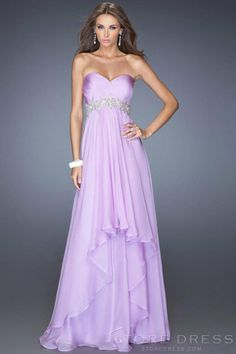 2014 Floor Length Prom Dress Bodice Beaded Waistline Layered Chiffon Skirt - Promgirlshop.com on Wanelo
