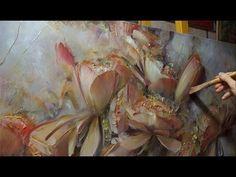 """Цветы на сером"". Олег Буйко. Process of creating oil painting. - YouTube"