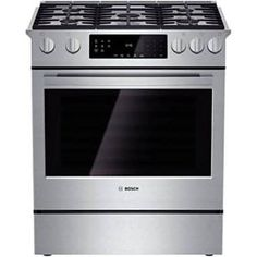 Bosch Slide-in Gas Range with 5 Sealed Burners, BTU Center Burner, cu. Convection Oven, Pyrolytic Self-Clean, 9 Cooking Modes and Warming Drawer Bosch Appliances, Kitchen Appliances, Kitchens, Kitchen Reno, Kitchen Ranges, Loft Kitchen, Kitchen Layouts, Kitchen Remodeling, Kitchen Designs