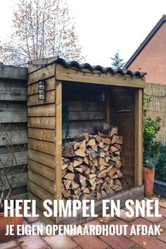 Bekijk hier hoe ik dit openhaardhout afdek bouw. Met dit afdak blijft je hout droog bewaard. #openhaardhout #afdak #diyproject Pergola Patio, Backyard Landscaping, Wood Storage, Firewood, Home Remodeling, Landscape Design, Diys, Diy Projects, Woodworking