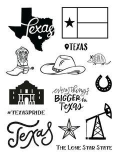 Texas Destination Stamp Set Tattoos Skull, Star Tattoos, Tattoos Infinity, Texas Crafts, Texas Tattoos, Texas Shirts, Jw Gifts, Loving Texas, Texas Flags