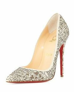 So Pretty Laser-Cut Patent Glitter Red Sole Pump by Christian Louboutin at Bergdorf Goodman. Pretty Shoes, Beautiful Shoes, Beautiful Live, Awesome Shoes, Bergdorf Goodman, Women's Shoes Sandals, Shoe Boots, Red High Heel Shoes, High Heels