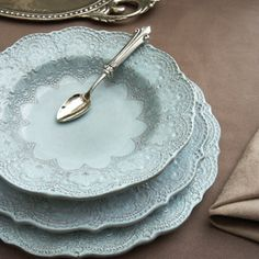 LOVE this vintage design inspired by antique Italian lace.  Such an elegant colour!  Beautiful product by Arte Italica - The Merletto Collection