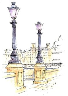 Paris sketch ~ John Edwards Book a room in one of our hotels in Watercolor Architecture, Architecture Drawings, Landscape Sketch, Watercolor Landscape, Landscape Art, Landscape Photography, Watercolor Sketch, Watercolor Paintings, City Sketch