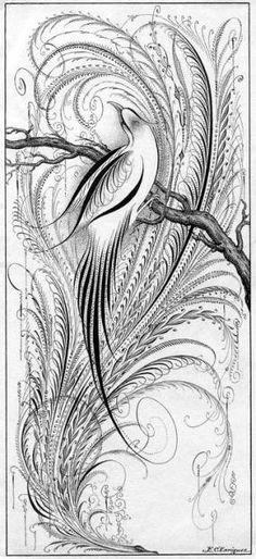 """Imagen 23 del libro """"Gems of flourishing"""" de Charles Paxton Zaner, 1888 (Acceder a las imágenes)  Eliseo Carlos Enriquez . (1907-1..."""