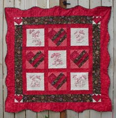 Valentine theme lap quilt pattern teaches piecing, borders, binding, quilting and redwork embroidery. Valentine Theme, Valentines Day Hearts, Sunbonnet Sue, Lap Quilt Patterns, Heart Diy, Quilts, Blanket, Embroidery, Etsy