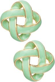 Mint and gold knot earrings