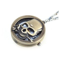 Modern Bronzy Skull Cover Necklace Key Ring Pocket Watch $0.08