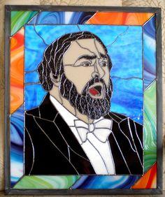 Pavarotti 2 Gl Supplies Large Art Portrait Stained