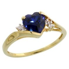 10k Gold Heart Stone Ring w/ 1.50 Total Carat Heart-shaped 7mm Created Blue Sapphire Stone & Brilliant Cut Diamonds, Size 5.5