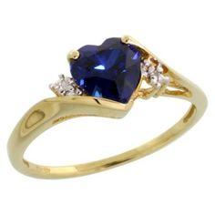 10k Gold Heart Stone Ring w/ 1.50 Total Carat Heart-shaped 7mm Created Blue Sapphire Stone & Brilliant Cut Diamonds, Size 5.5