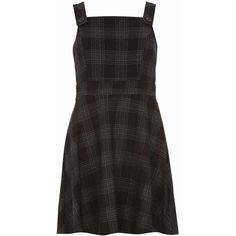 Dorothy Perkins Check Pinny Fit and Flare Dress ($29) ❤ liked on Polyvore featuring dresses, black, checkered dress, checked dress, pinafore dress, fit flare dress and dorothy perkins