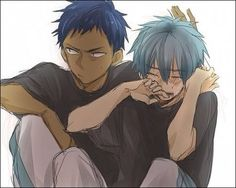 This is so sweet! Aomine, awkwardly trying to comfort Kuroko <3 | KnB