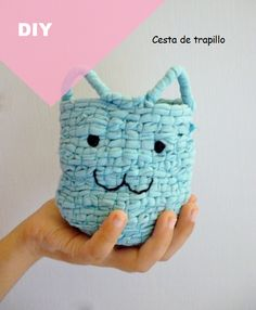 diy: cesta de trapillo / diy: t-shirt yarn basket