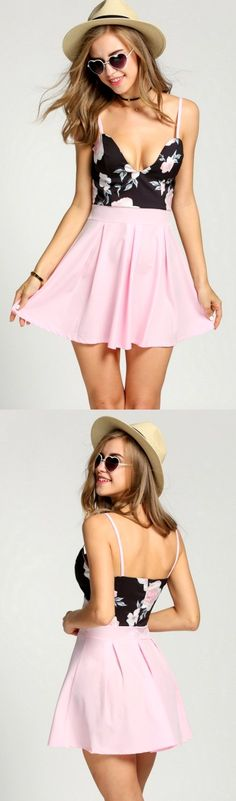 Summer New Fashion Woman Pink+Black Floral Cute Mini Dress. Shop Online and get 10%Off your first order at www.pescimoda.com #Cute #Dresses #CasualDresses #DressesForTeens #DressesForWoman #PartyDresses #SummerDresses #Fashion #Stylish