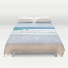 Art Duvet Cover Life is better at the Beach photography home decor photograph photo nautical ocean blue bedding full queen king bedroom