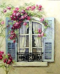 Chateau De Fleurs: My Love of French Windows Inspired a New Romantic Rose Painting! So gorgeous!