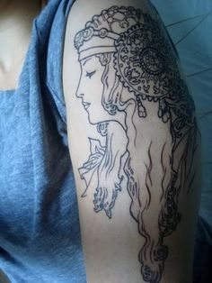 Love the line work, I'm thinking of getting a mucha tattoo - if I were to this is the placement I would do.