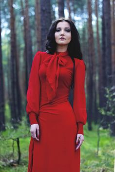 #5 Lady in red by IDMW  on 500px #beauty #red #long #hair #woods
