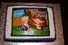 Hand cut fondant 'picture' of Phineas and Ferb, on top of buttercream.
