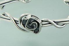"""11st 483 - Sterling Silver Light Gauge Vine Cuff with 1/2"""" Rose."""