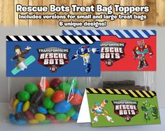 Make your Transformers Rescue Bots Birthday Party even cooler by using these Rescue Bots Treat Bag Toppers! Download and print all 6 different