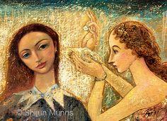 "Detail""UnderSea"" oil on linen 2006. 46x58  © Shijun Munns  #painting Art Paintings, Original Paintings, Fine Art Gallery, Face Art, Portrait Art, Wood Paneling, Exhibit, Folk, Faces"
