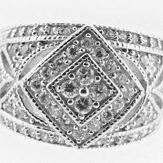 Ladies 1.10 ct Genuine Diamond Vintage Style Cluster Ring 14kt White Gold Sizes 4-9