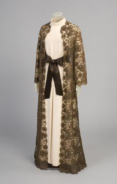 Fall 1969, America - Woman's Ensemble: Evening Dress, Coat, and Sash by Gustave Tassell - Rayon knit, silk satin, cotton and rayon lace