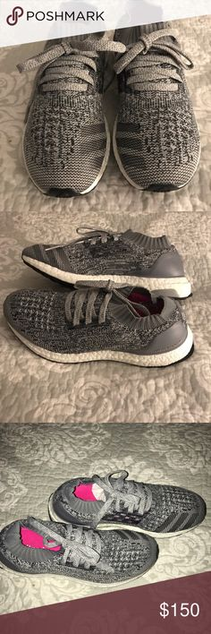 ⭐️Adidas Ultra Boost Uncaged Clear Grey Size-7.5⭐️ ⭐️Adidas Ultra Boost Uncaged Clear Sneakers in Gray on Gray and in Size-7 1/2 and true to size, I ware a Size 6.5-7 and there a little to large for me, these have been worn maybe around 2x's  just to run a couple of errands,the only thing is a scuff that you can't see,on both inner heels , I tried to take a close up pic,then put flash on to try & make it really visible, really don't see it, they really look brand new,can't find box but will…